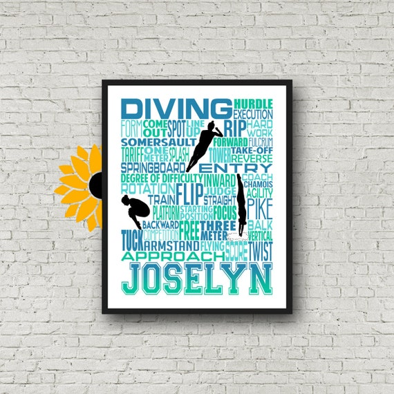 Personalized Diving Poster, Diving Typography, Gift for Diver, Diving Team Gift, Swimming Team Gift, Swimmer Poster, Competitive Diving