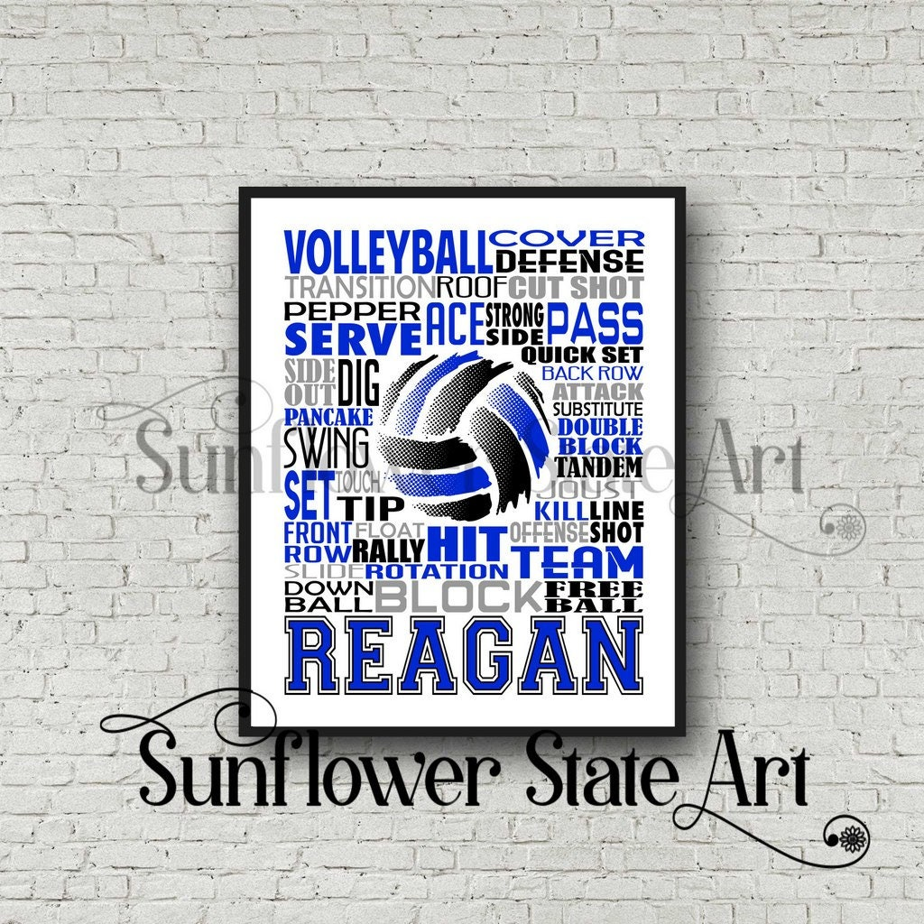 Volleyball Team Gift Volleyball Typography Volleyball Poster