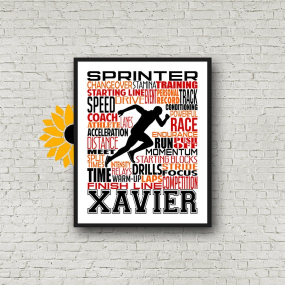 Sprinter Poster, Personalized Runner Poster, Runner Typography Print, Track and Field Poster, Track and Field Team Gift, Gift for Runner