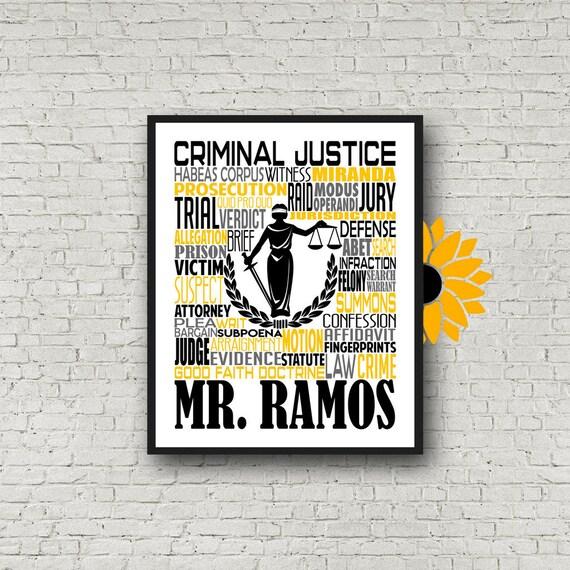 Personalized Criminal Justice Poster, Criminal Justice Typography, Criminal Justice Gift, Gift for Criminal Justice Teacher
