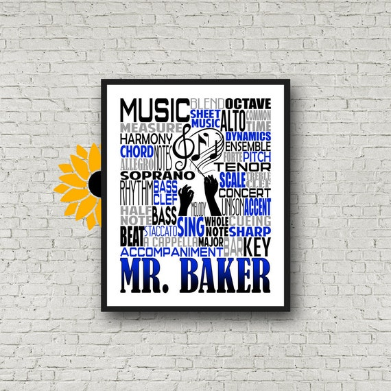 Music Teacher Typography, Choir Teacher Gift, Gift for Music Teacher, Choir Director, Conductor Gift, Chorale Gift,Personalized Choir Poster