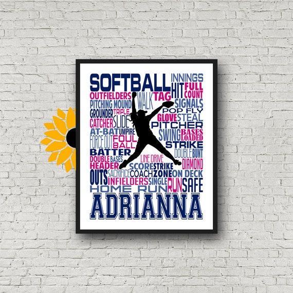Softball Gift, Softball Art, Softball Poster, Softball, Typography, Softball Player Gift, Print, Softball Personalized, Softball Pitcher