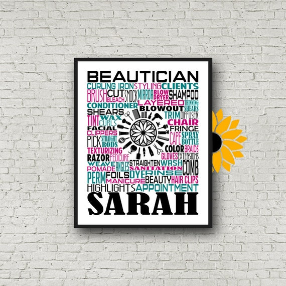 Gift for Hair Stylist, Beauty Salon Typography, Personalized Hair Stylist Poster, Gift for Hairdresser, Beautician Gift, Beauty Shop Gift