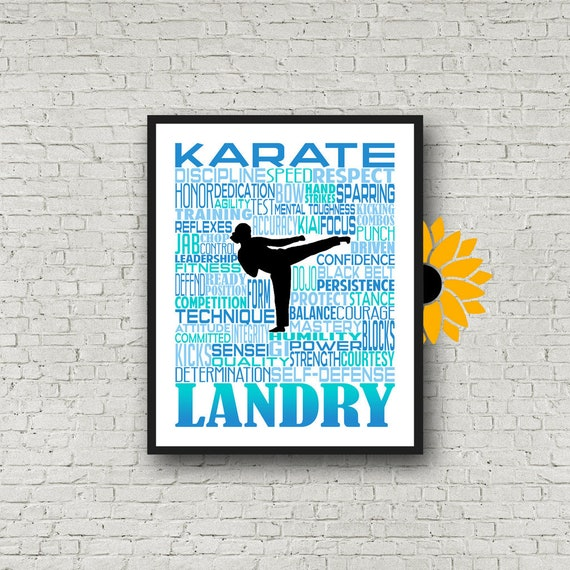 Personalized Karate Poster, Karate Typography, Karate Gift, Gift for Karate, Karate Art, Karate Print, Karate Team Gift