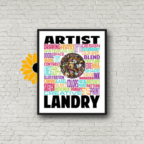 Personalized Artist Typography, Artist Gift, Gift for Artist, Gift for Painter, Art Teacher Gift, Gift for Artistic Girl Boy Teen Customized
