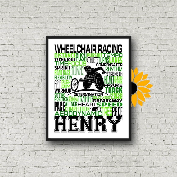 Personalized Wheelchair Racing Poster, Wheelchair Racing Typography, Gift for Para-Athlete, Para-Athlete Poster, Gift for Wheelchair Racer