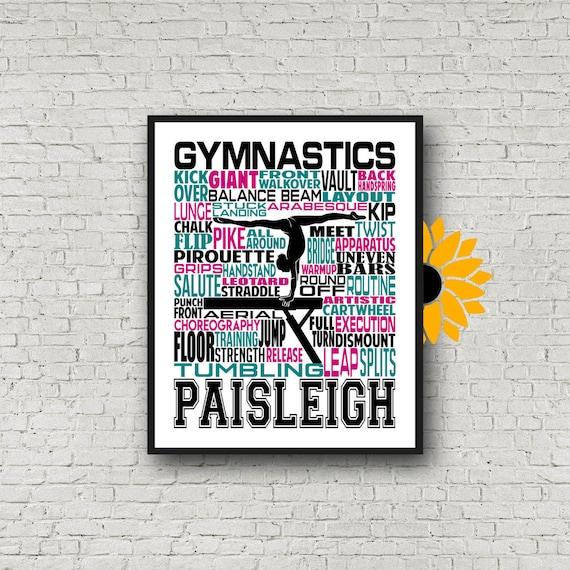 Gymnastics Typography, Gymnast Poster, Gymnast Gift, Gift for Gymnasts, Gymnastic Team Gift, Gymnastic Art, Gymnast Print