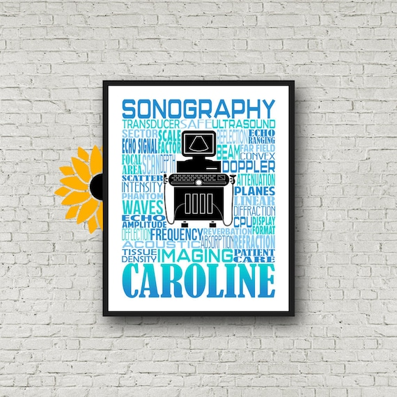 Gift for Sonographer, Sonography Typography, Personalized Sonographer Poster, Sonography Gift, Ultrasound Tech Gift,  Rad Tech Week