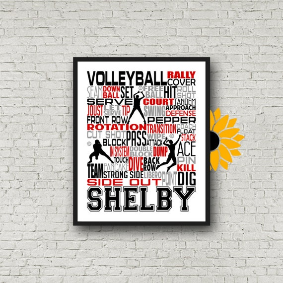 Volleyball Poster, Volleyball Typography, Volleyball Team Gift Volleyball Print, Volleyball Art, Gift for Volleyball Players Volleyball Team