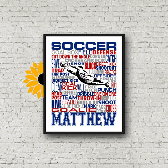 Personalized Soccer Goalkeeper Poster, Soccer Goalie Typography, Gift for Soccer Players Keeper, Soccer Gift, Soccer Team Gift, Soccer Print