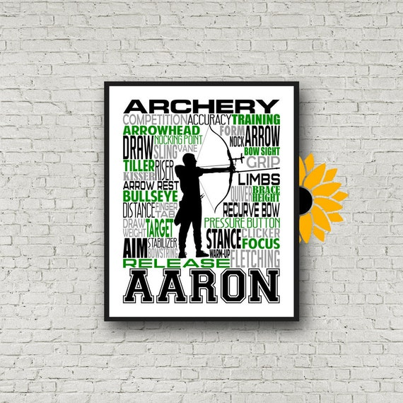 Archery Poster, Personalized Archery Gift, Gift for Archers, Recurve Bow Gift, Compound Bow Poster, Archery Typography, Archery Team Gift