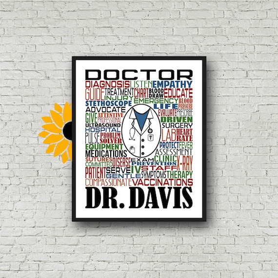 Gift for Doctor, Personalized Doctor Poster, Doctor Typography, Doctor Gift, MD Gift, Doctor Appreciation, Doctor Graduation Gift