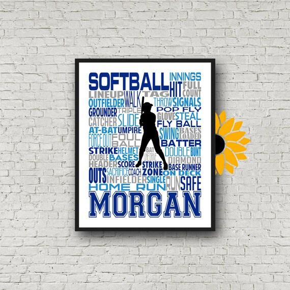 Softball Art, Softball Poster, Softball Typography, Softball Player Gift, Print, Softball Personalized, Softball Pitcher, Softball Art
