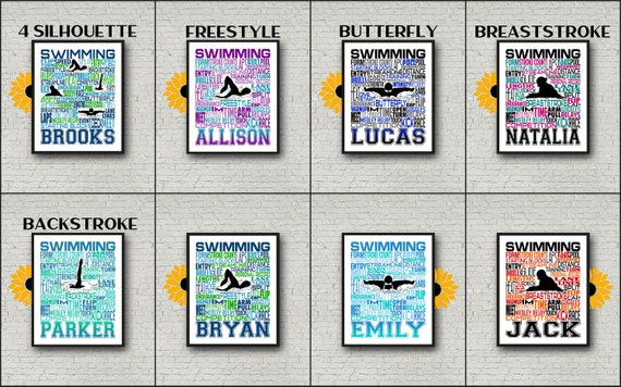 Swimming Typography, Personalized Swimmer Poster,  Backstroke Swimmer, Gift for Swimmer, Swimming Team Gift, Swimmer Art, Swimming Print