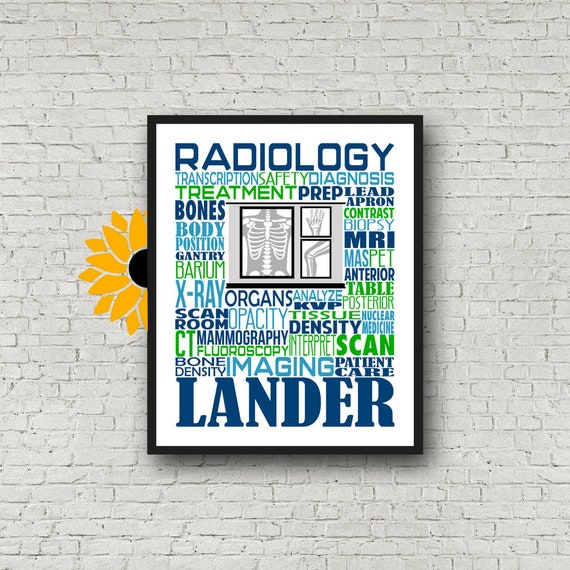 Personalized Radiology Poster, Radiology Typography, Radiology Gift, Radiologist Gift, Gift for Radiologist, X-Ray Tech, Radiologic Tech