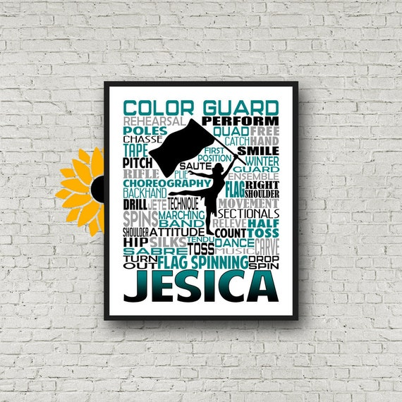 Color Guard Typography, Personalized Color Guard Poster, Gift for Color Guard, Color Guard Team Gift, Flag Spinner Poster, Flag Spinners