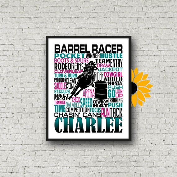 Barrel Racer Typography, Personalized Barrel Racing Poster, Barrel Racing Print, Gift for Barrel Racer,  Barrel Racer Poster, Pole Bending