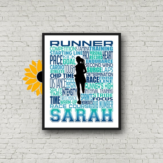 Running Typography, Personalized Running Poster, Gift for Runners, Marathon Runner Gift, Runner Gift, Gift Ideas for Runners