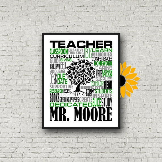 Teacher Appreciation, Personalized Teacher Poster, Teacher Inspiration Gift, Educator Gift, Gift for Teachers, Teacher Print, Teacher Art