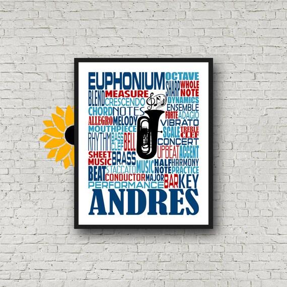 Personalized Euphonium Poster, Euphonium Typography, Euphonium Player Gift, Euphonium Gift, Custom Euphonium, Band Gift, Marching Band