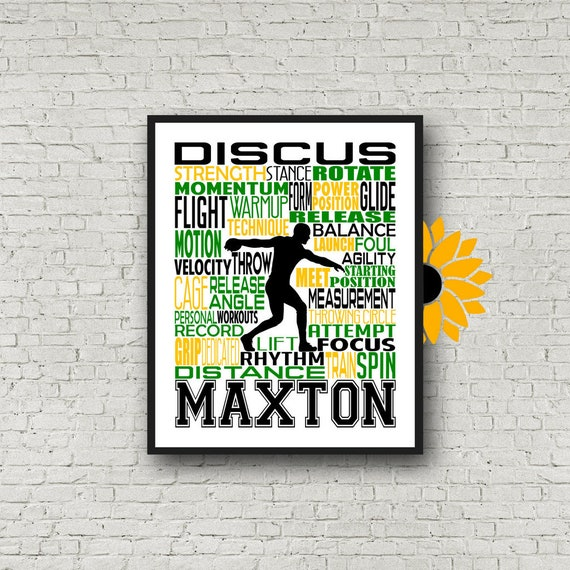 Personalized Discus Thrower Poster, Track and Field Typography Print, Track and Field Poster, Track and Field Team Gift, Gift for Track