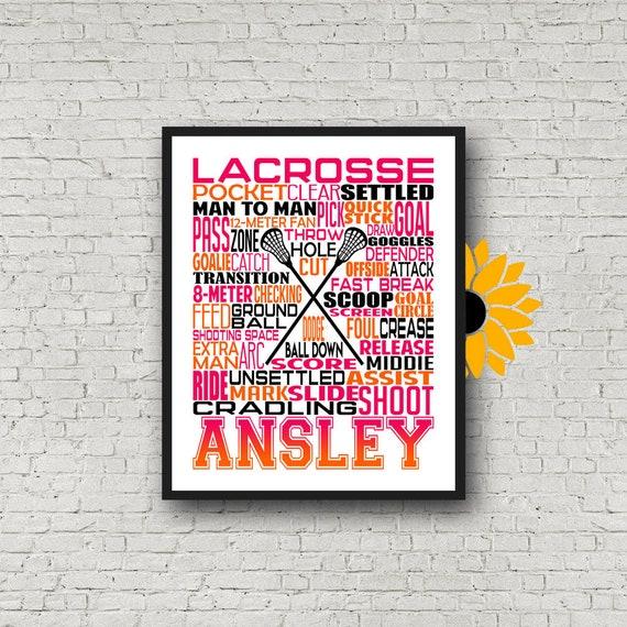 Women's Lacrosse Poster, Personalized Lacrosse Poster, Gift Lacrosse Player, Lacrosse Gift Ideas, Lacrosse Typography, Lacrosse Team Gift