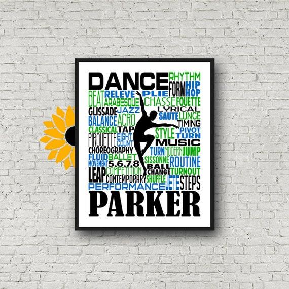 Personalized Male Dance Poster, Gift for Boy Dancer, Dancing Art, Dancing Print, Dancer Typography,  Dance Team Gift, Guy Dancer
