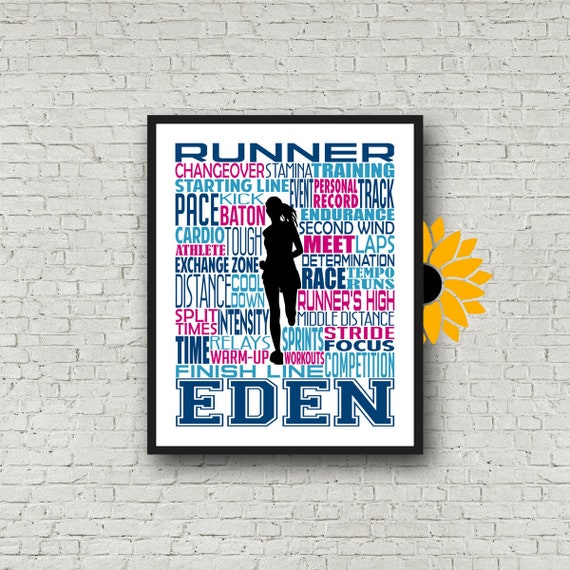 Personalized Track and Field Runner Poster, Gift for Sprinter, Distance Runners Gift, Gift for Runners, Runner Typography, Track Team Gift