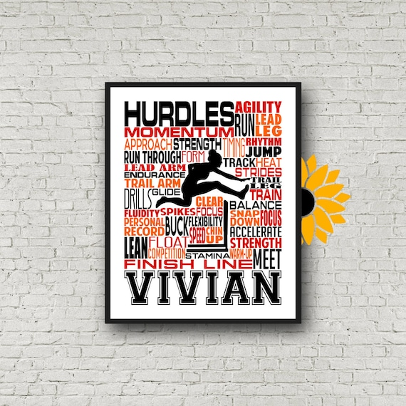 Personalized Hurdler Poster, Gift for Hurdler, Track and Field Team Gift, Hurdles Typography, Hurdler Typography, Hurdles Poster