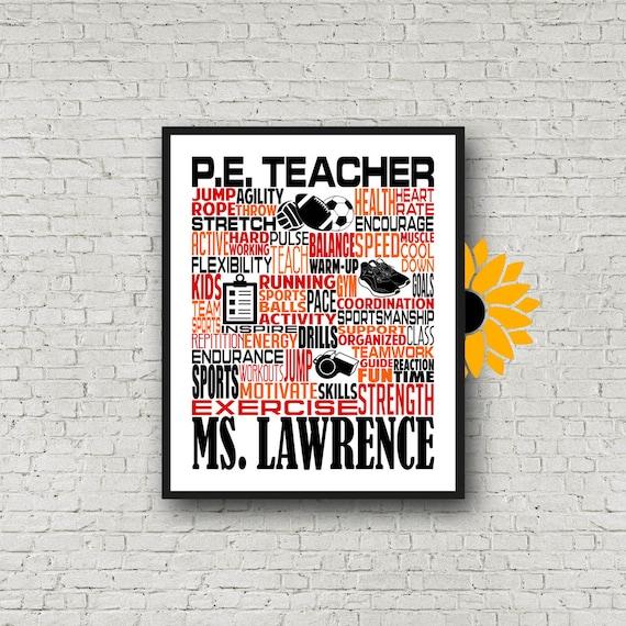 P.E. Teacher Typography, Personalized P.E. Teacher Poster, Phys Ed Teacher Gift, Gift for Physical Education Teacher, PE Teacher Gift