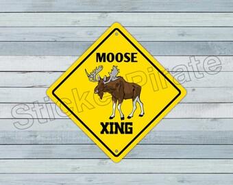 moose crossing sign etsy