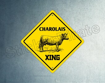 Cow Crossing Funny Metal Aluminum Novelty Sign