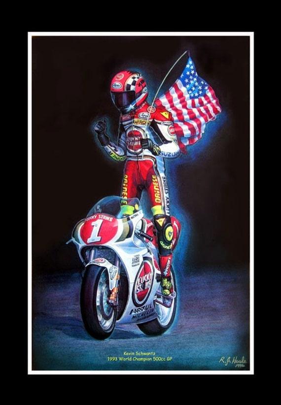Kevin Schwantz Moto GP 1993 World Champion Suzuki moto (A3) Giclee Print 16ede8b4eede