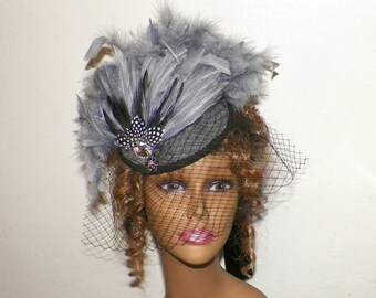 Gray Hat Fascinator Black Victorian Steampunk Cocktail Feather Gothic  Lolita Headpiece Old West Costume Marie Antoinette ae2e9f36ff6