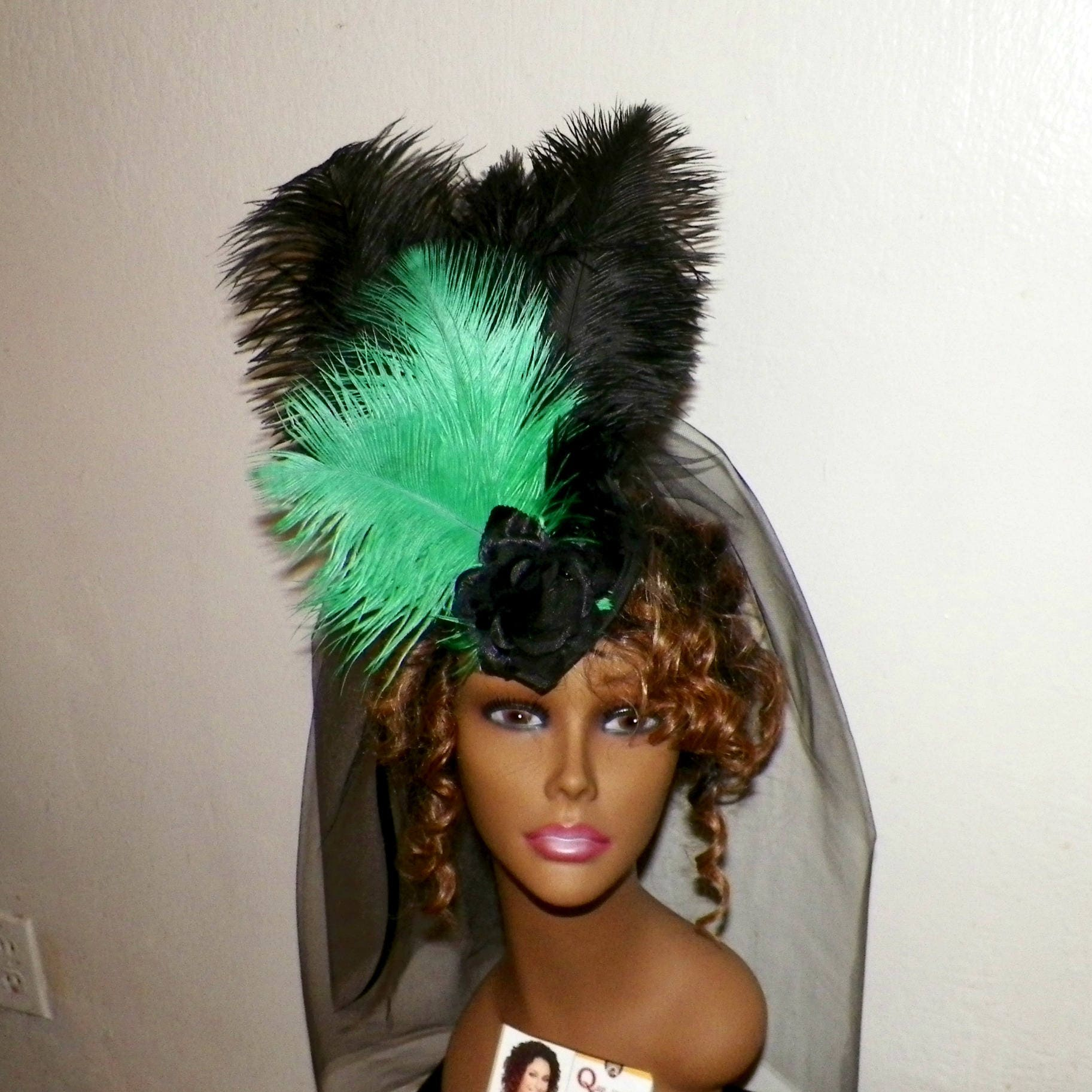 Black,Victorian,Gothic,Headdress,Green,Hat,Feather,Fascinator,Steampunk,Lolita,Costume,Headpiece,Old,West,Marie,Antoinette,Accessories,womans_hat,victorian_hat,Marie_Antoinette,gothic_hat,gothic_headdress,gothic_headpiece,lolita_hat,black_fascinator,gothic_fascinator,steampunk_hat,feather_headdress,headpiece,green_fascinator