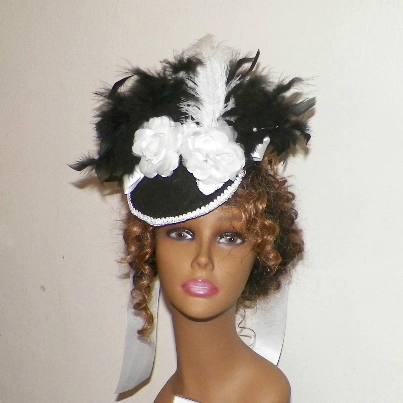 White,Black,Gothic,Fascinator,Victorian,Hat,Feather,Steampunk,Lolita,Costume,Headpiece,Old,West,Marie,Antoinette,Accessories,womans_hat,victorian_hat,Marie_Antoinette,gothic_hat,gothic_headdress,gothic_headpiece,lolita_hat,black_fascinator,gothic_fascinator,steampunk_hat,feather_headdress,white_fascinator,white_hat