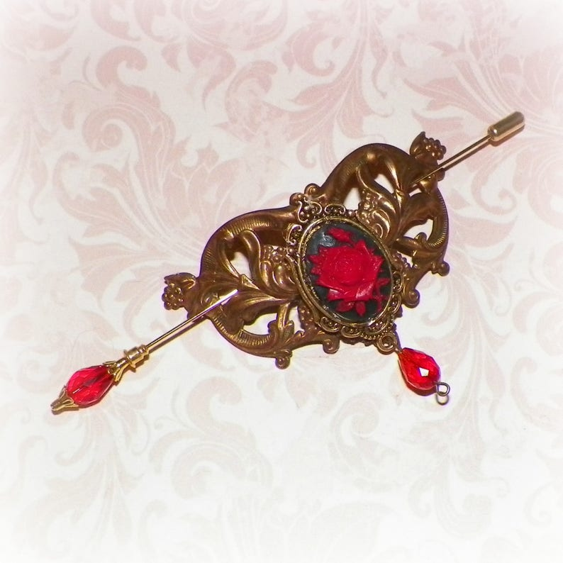 Red Victorian Shawl Pin Brooch Gold Steampunk Rose Vintage Style Scarf Pin Hair Slide Edwardian Filigree  Antique Inspired Stick