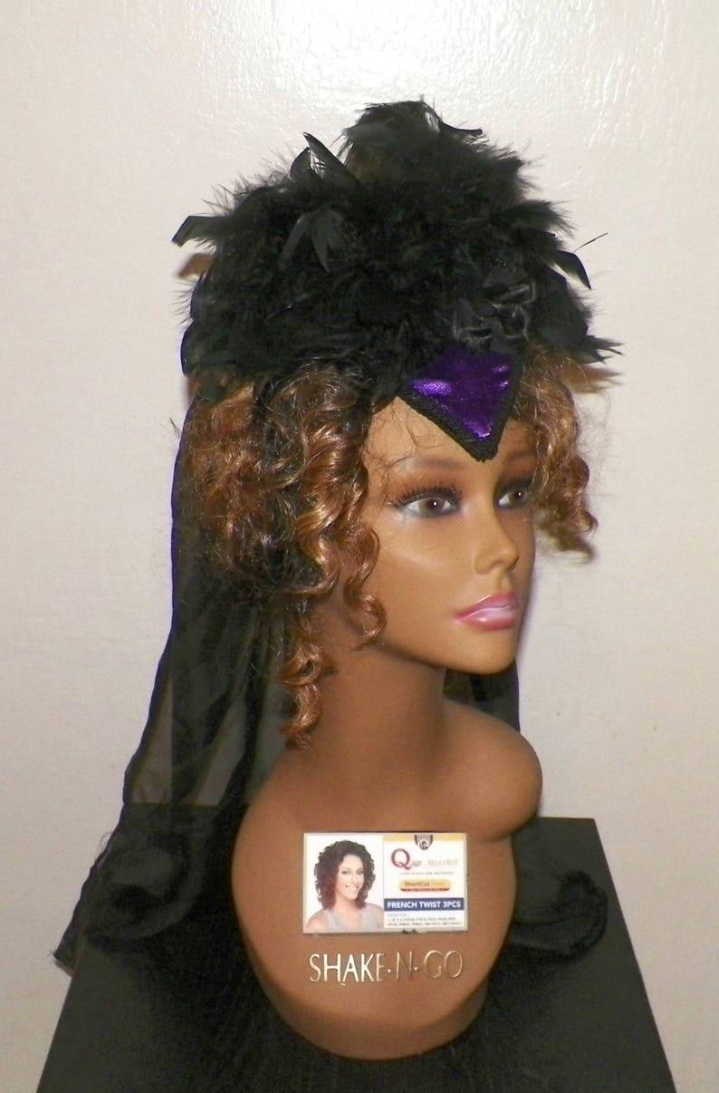 ef3fc7b66a722 Gothic Headdress Purple Victorian Hat Black Feather Fascinator