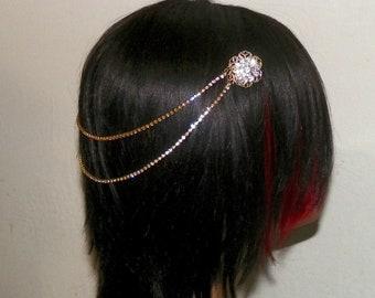 Art Deco Headpiece Wedding Gold Rhinestone Pearls Vintage 20s Bridal Gatsby Chains Renaissiance Vintage Style Jewelry Boho Hair Floaters