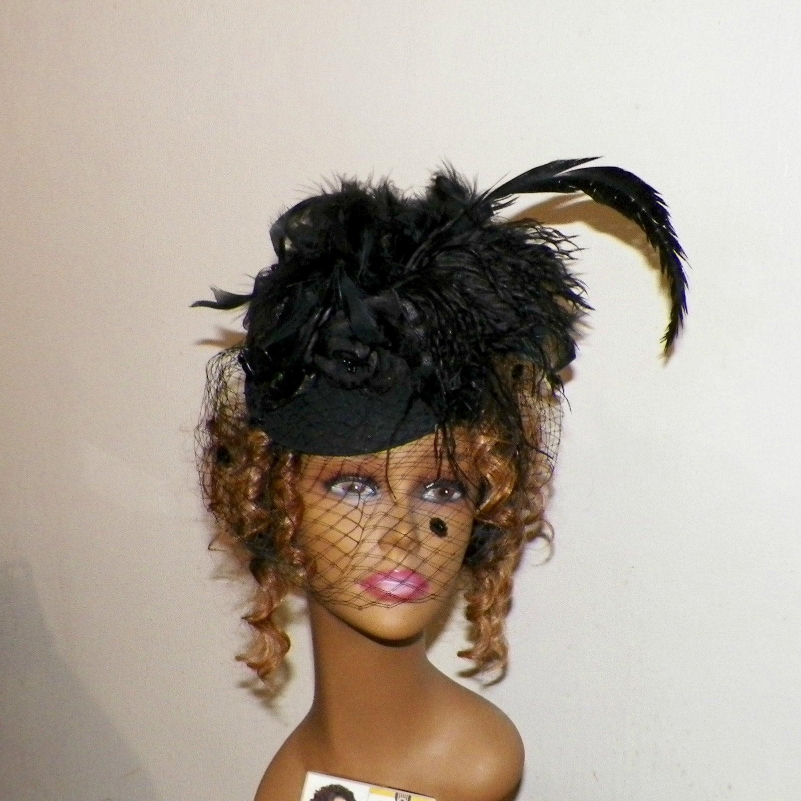 Fascinator,Black,Bird,Hat,Raven,Steampunk,Headdress,Victorian,Gothic,Marie,Antoinette,Lolita,Costume,Headpiece,By,Nevermore,Accessories,victorian_hat,gothic_headdress,gothic_headpiece,gothic_fascinator,steampunk_hat,feather_headdress,bird_fascinator,raven_fascinator,bird_hat,raven_hat,feather_fascinator,black_bird_hat,raven_nevermore