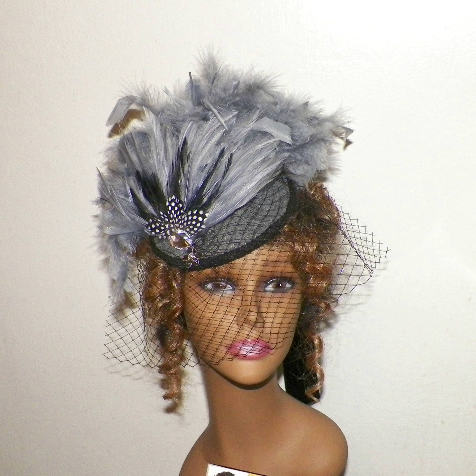 Gray,Hat,Fascinator,Black,Victorian,Steampunk,Cocktail,Feather,Gothic,Lolita,Headpiece,Old,West,Costume,Marie,Antoinette,Accessories,womans_hat,victorian_hat,Marie_Antoinette,gothic_headdress,lolita_hat,gothic_fascinator,steampunk_hat,feather_headdress,black_fascinator,steampunk_fascinator,gray_hat,cocktail_hat