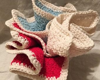 Dishcloth Eco Dishcloth Washcloth - Set of 3 Cotton Hand Crocheted Dishcloths in Kitchen Retro Blue, Red, and Cream