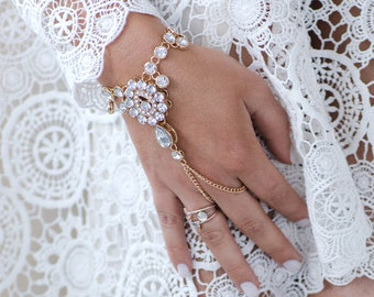 Hand Chain Gold Hand Jewelry Silver Hand Jewels Hand Bracelet Slave Bracelet for Bride Bridal Slave Bracelet Gold Finger Bracelet for Bride