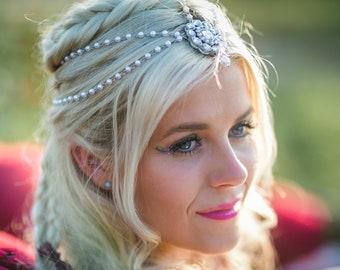 Bridal Head Chain Hair Jewelry Pearl Hair Piece for the Bride Bridal Hair Piece Head jewelry Hair Chain Silver Boho Wedding Boho Bride