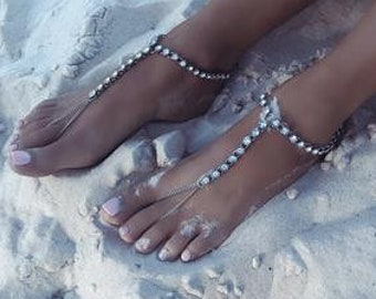 Minimalist Barefoot Sandals Silver Slave Anklet Beach Wedding Sandals Bridal Barefoot Sandals Bridesmaids Gift Silver Foot Jewelry: Aurora