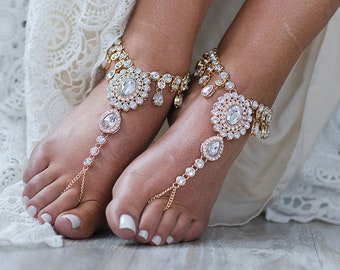 Luxury Barefoot Sandals Bridal Foot Jewelry Bridal Anklet For Bride Beach Wedding Shoes Wedding Anklet Wedding Sandals Foot Thong: Starla