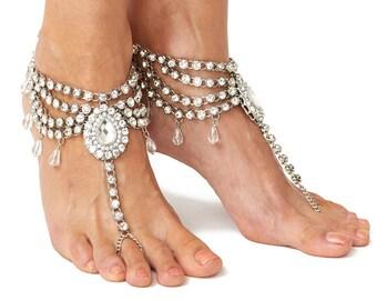 Fatima Wedding Barefoot Sandals Silver Bohemian Sandals Beach Wedding Foot Jewelry Boho Slave Anklet Silver Anklets Barefoot Shoes Wedding