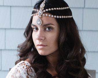 Gold Hair Chain Silver Hair Jewelry Hairpiece Hairband Bridal Head Piece Head Chain for the Bride Boho Bride Bohemian Wedding Head Jewelry