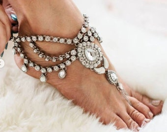 Barefoot Sandals for the Bride Silver Sandals Anklet Foot Jewelry Foot Thong Barefoot Bride Bohemian Bride Beach Wedding Sandals Shoes