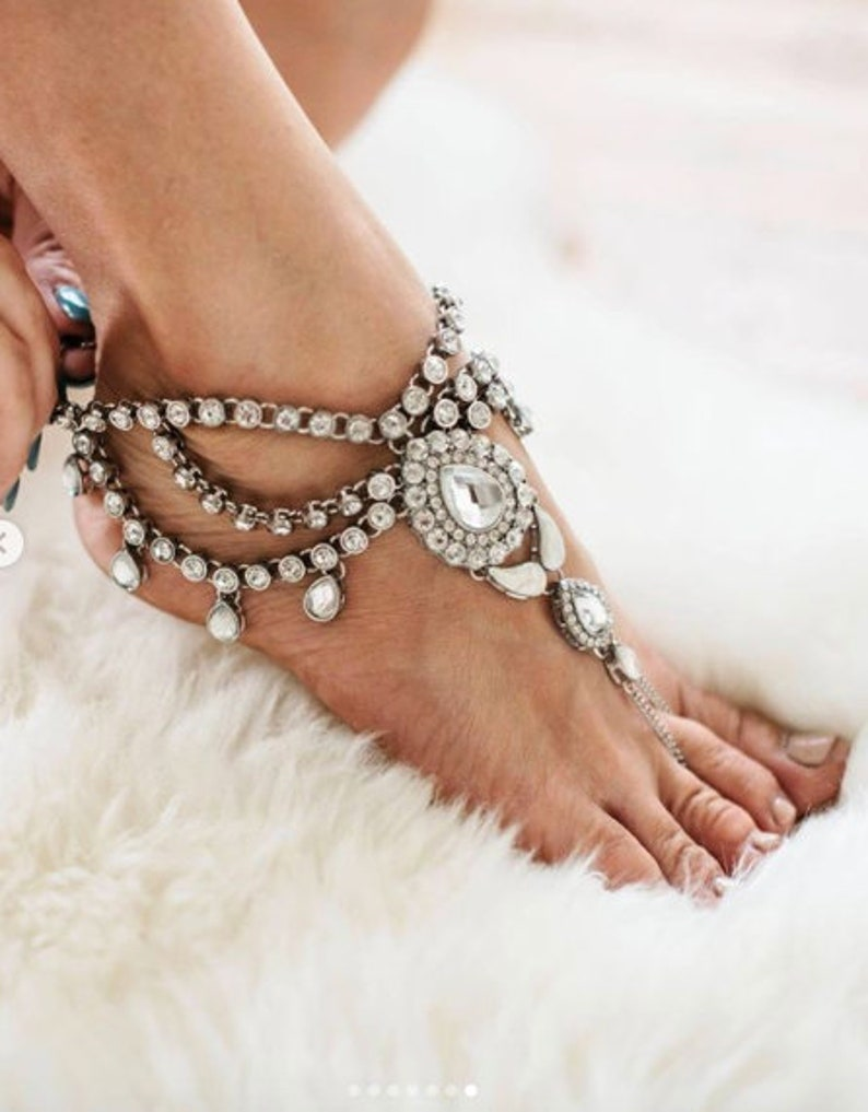 9f47414f1c45c5 Barefoot Sandals for the Bride Silver Sandals Anklet Foot